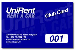 UniRent Rent a Car Club Card