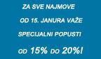 Od 15. januara važe specijalni popusti od 15% do 20% za sve najmove